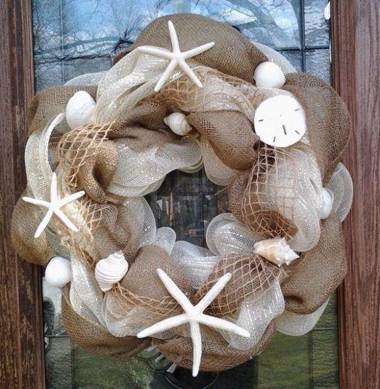 DIY-burlap-and-mesh-wreath-ideas-summer-decoration-sea-shells-starfish