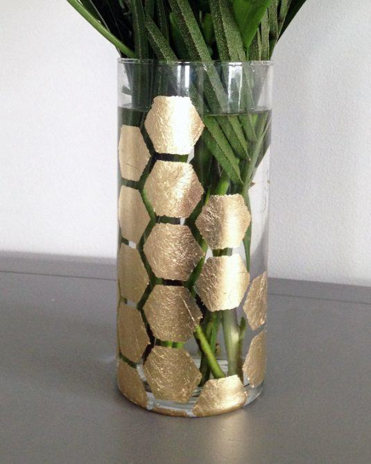 DIY-gold-leaf-hexagon-glass-vase