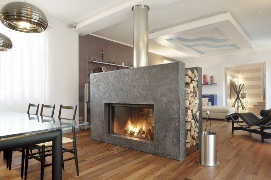 impressing-stainless-steel-tube-fireplace-wood-storage-interior-and-captivating-wooden-floor