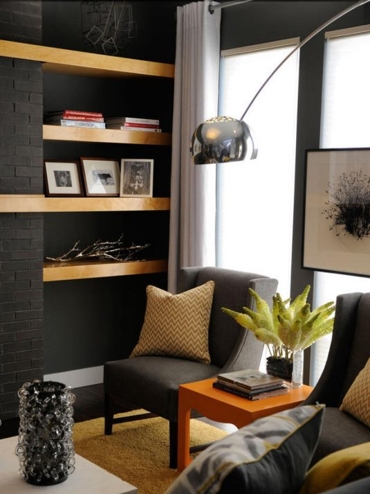 Dark Gray Living Room: Spectacular Corner Decorations That Will Fill In The Empty