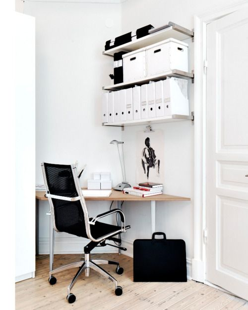 lovely-modern-offices-design-concept-ideas-with-varnished-wooden-top-corner-office-table-plus-white-base-legs-also-white-laminated-wall-shelf-and-black-seat-backrest-office-chair-with-chrome-arm-frame