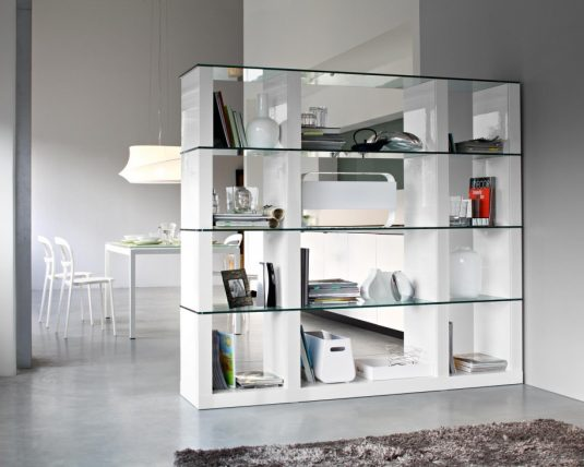 stunning-interior-room-design-ideas-with-modern-white-modular-bookcase-feat-glass-shelf-and-white-dining-table-furniture-set-ideas-915x732