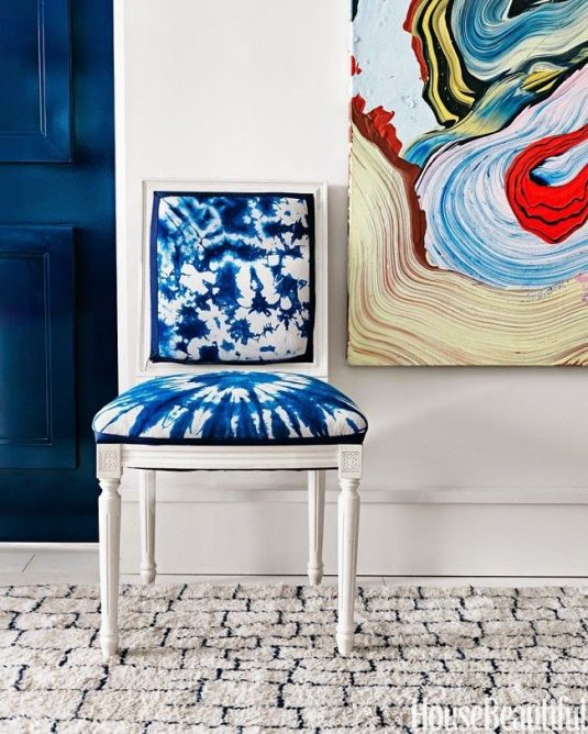 white-chair-with-shibori-dyed-upholstery