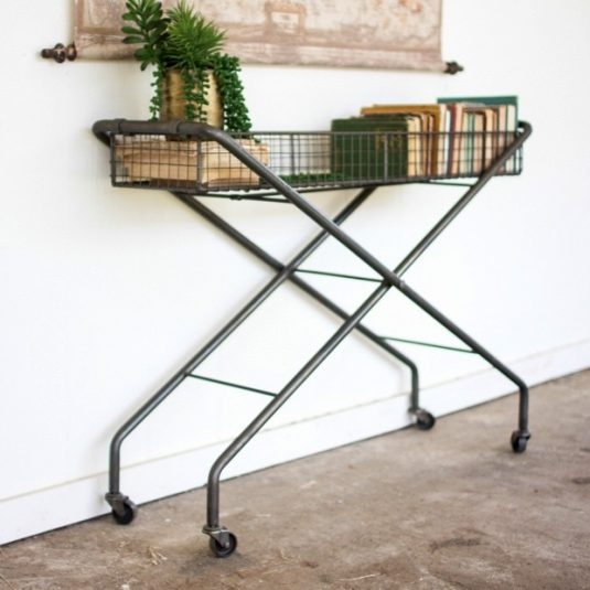 rolling-metal-basket-console-table