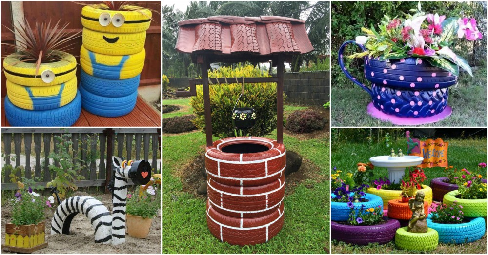 Diy Tire Decor That Brings Color In Your Garden Very