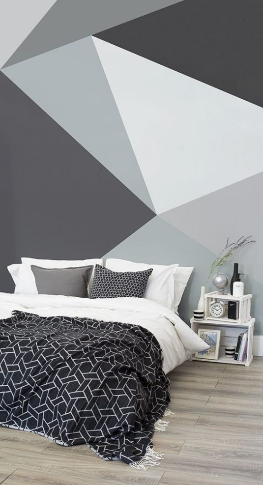 Geometric Wall Ideas To Create Eye-Catching Accent Wall on Cheap:l2Opoiauzas= Bedroom Ideas  id=69102