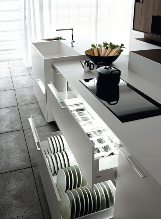 Modern Kitchen Cabinets With Clever Space Saving Features