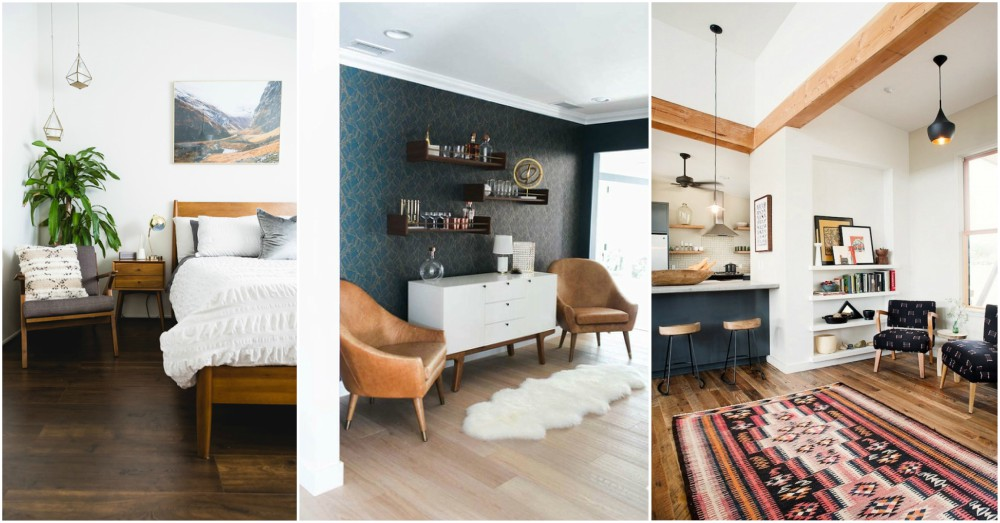 key elements that are recognizable in mid century modern interiors