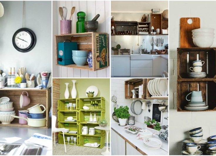 Wooden crates in kitchen a brilliant idea to add extra for Extra kitchen storage ideas